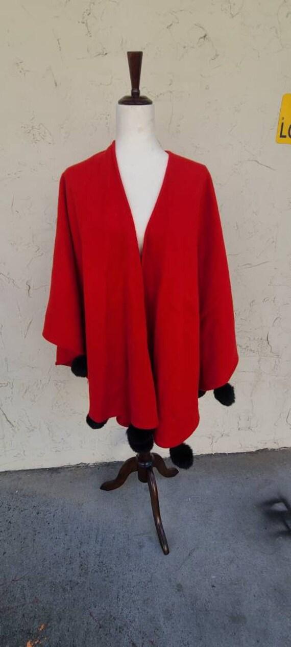 Vintage Red Wool and Black Rabbit Fur Cape