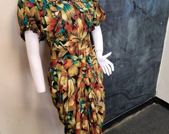 Vintage Karen Alexander Belted Ruched Floral Print Dress