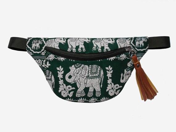 Boho fanny pack vert olive foncé éléphant/fanny pack/Hip sacs/ceinture sac/banane festival/bandoulière sac/taille sac/sac/BUY 2 GET 1 FREE