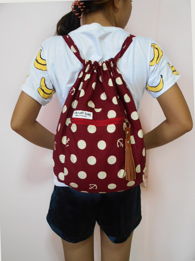 Red watermelon drawstring bagBackpacksTravel bagsSmall BackpackLaptop bag Handmade bagThai bagsport bagSchool bagBUY 2 GET 1 FREE