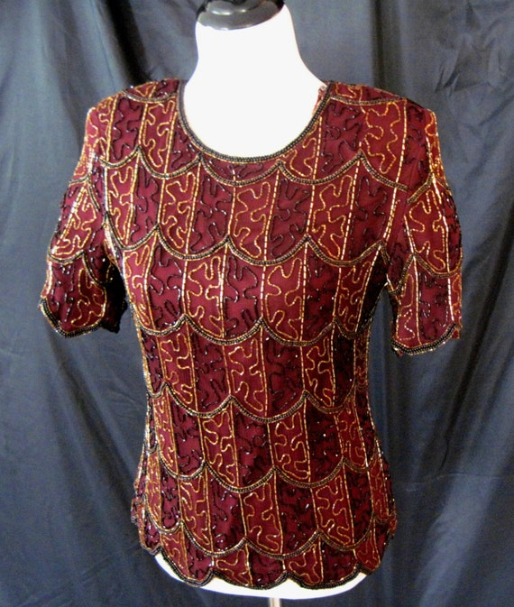 Blouse, Beaded silk blouse, Vintage Patra blouse,