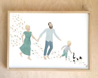 Family Portrait - ON MESURE portrait A4