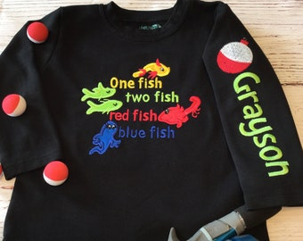 09e2afd7 Dr Seuss Inspired One Fish Two Fish Embroidered T Shirt W/Name Fishing  Theme Cat in Hat Preschool Baby Toddler Boy Girl 12M 18M 2T 3T 4T 5T