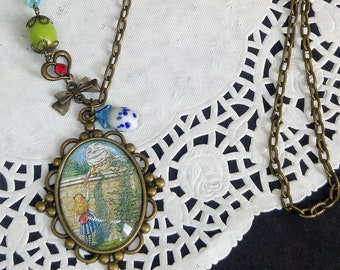 Alice in wonderland, long vintage-style chain necklace with colorful beads, Alice and Humpty Dumpty on the wall cameo, antique illustration