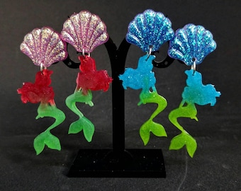 Little Mermaid pendant earrings with glitter resin sea shell and Ariel's silhouette