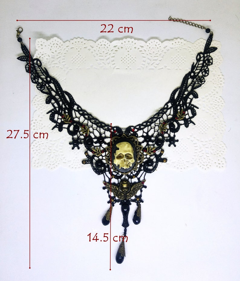 Skull cameo Victorian Gothic choker black lace necklace with crystal rhinestones and brass embellishments
