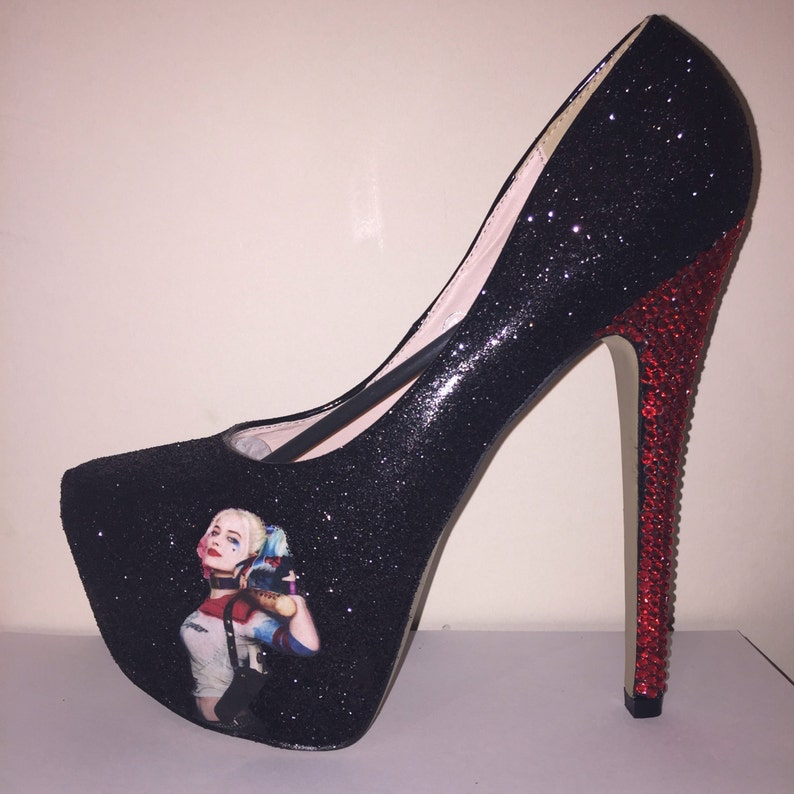 2aed97bfa342 Glitter high heels Harley Quinn inspired