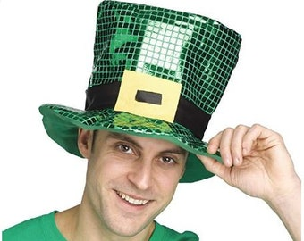 f237e3018807c St Patrick s Day Green Shamrock Sequin Top Hat Unisex Party Hat