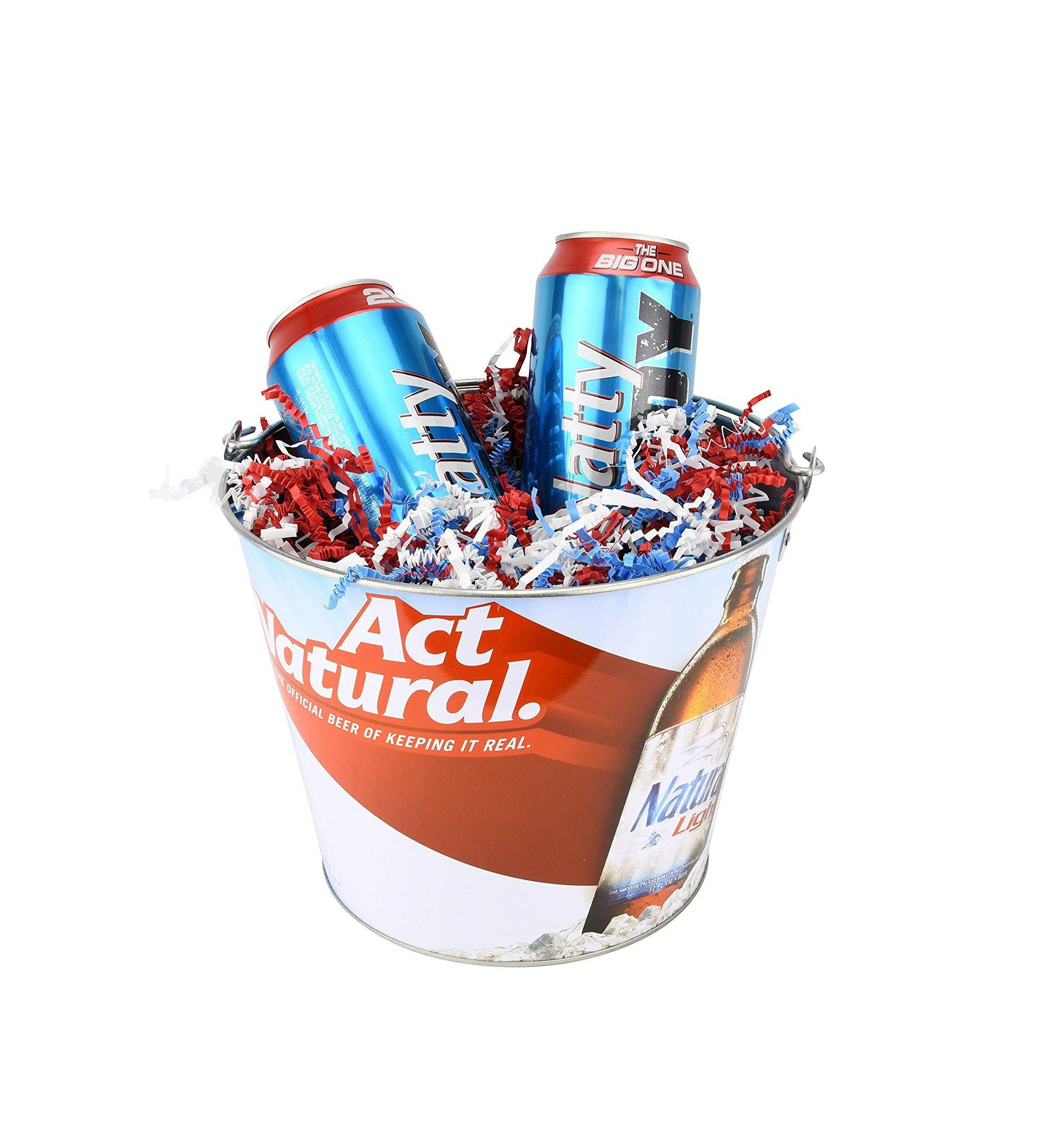 Bud Light Beer Bucket Adult Easter Basket//Gift Baskets with Colored Easter Grass