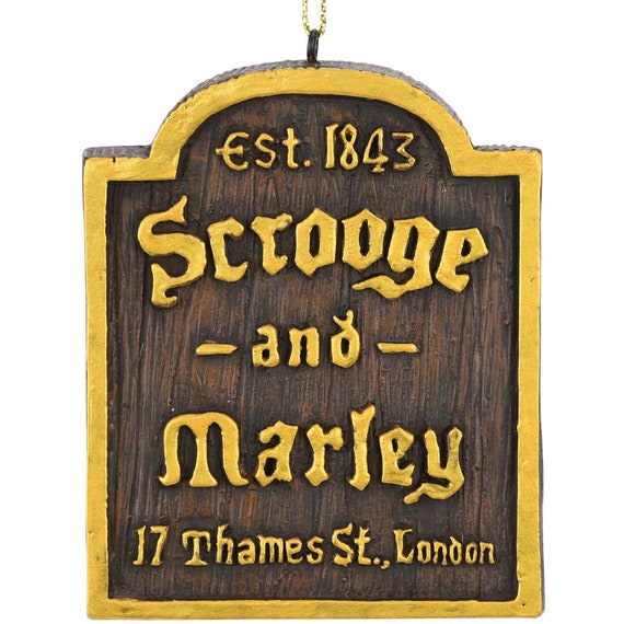 A Christmas Carol Scrooge And Marley.Tree Buddees A Christmas Carol Scrooge Marley Counting House Sign Ornament