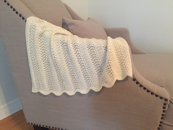 Feather And Fan Baby Blanket Knitting Pattern Etsy