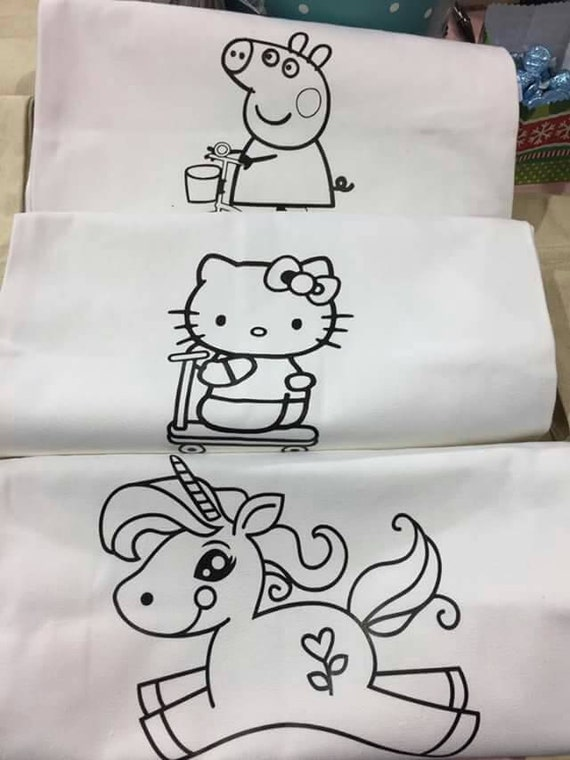 Color me in Unicorn Hello KittyPeppa pigcoloring tote bag  405c5be79d3bd