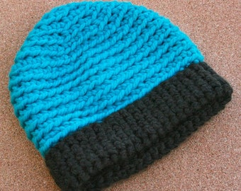 Teal Beanie with Chocolate Brim--Adult Size