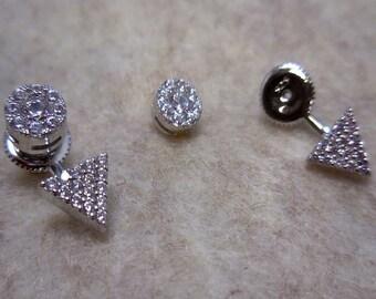Silver Swarovski Crystal Triangle Stud Earrings