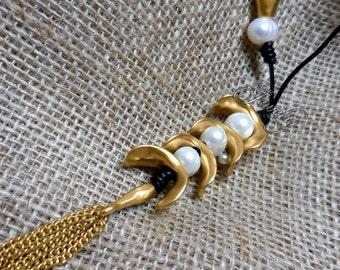 Matte Gold 18K GP Pearl Tassel Lariat Necklace