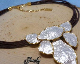 Gold Trim Mother of Pearl Leaf Necklace