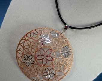 Silver Flower Two-Tone Necklace