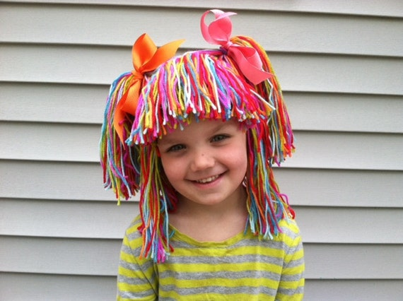 Clown Wig Yarn Wigs Girls Halloween Costume Hair Pretend Etsy