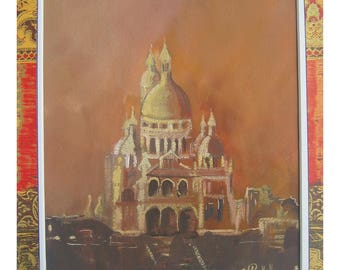 picture painting in watercolor, orange, beige, white, our Name de Paris