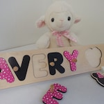Baby Name Puzzle With Pegs, Minnie Mouse Ears, Baby Shower Gift