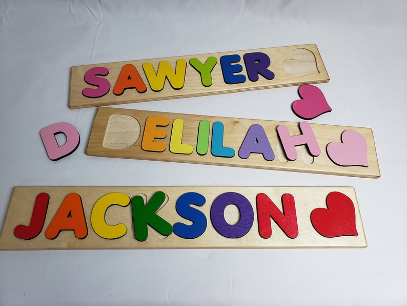 Custom Wooden Puzzle With Name And Heart Shape image 0