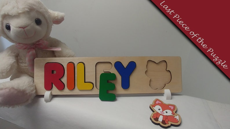 Baby Name Puzzle With Peg Option Unique Baby Gift Fox Lover Primary With Pegs