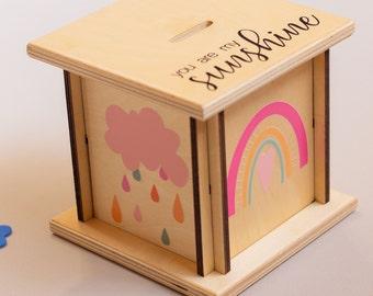 Rainbow Piggy Bank, Boho Nursery Decor, You Are My Sunshine, Gift For Girl