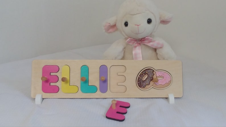Donut Birthday Party Gift Wooden Name Puzzle With Pegs image 0