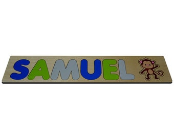 My Little Monkey Personalized Wooden Name Puzzle With Monkey in Green Gray Blue id271591820
