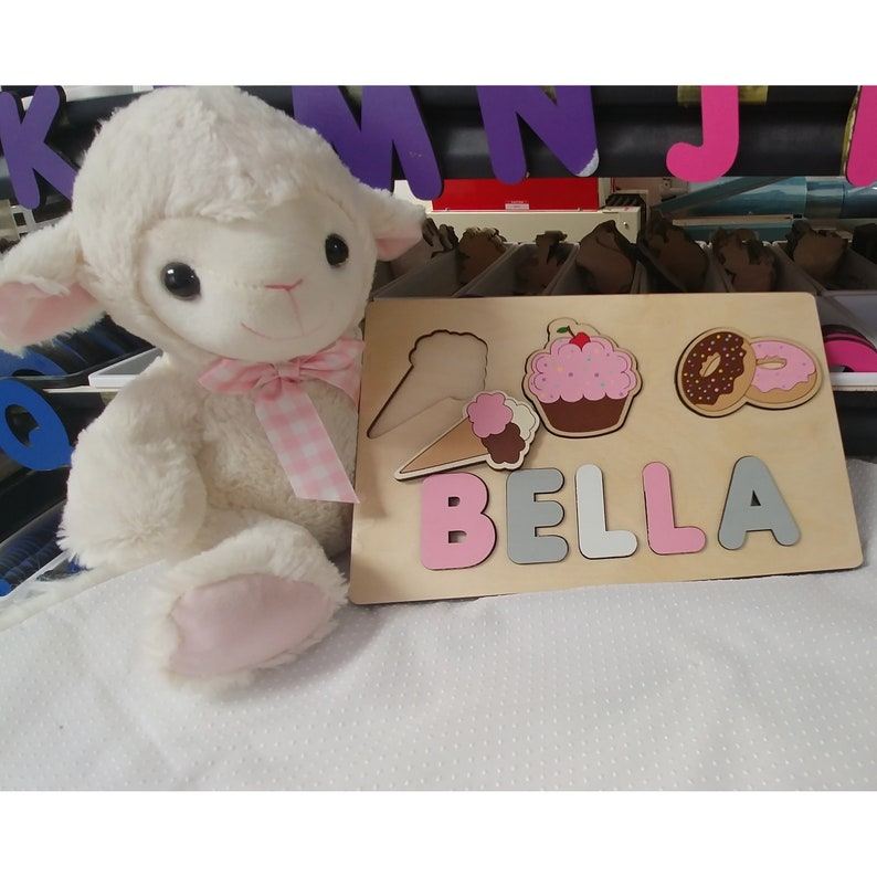 Donut & Ice Cream Party Wooden Name Puzzle With Cupcake Sign image 0