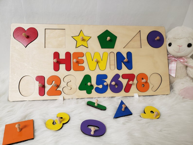 Newborn Name Puzzle With Pegs Numbers And Shapes Great Name image 0