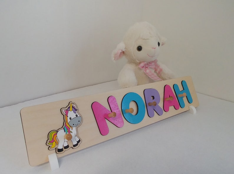 Unicorn Name Puzzle with Pegs Babyshower Gift Baby Girl Gift image 0