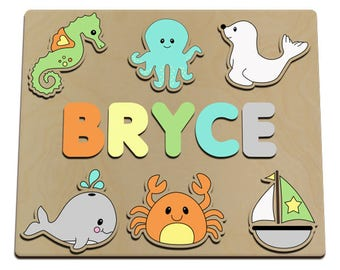Off The Shore Personalized Wooden Name Puzzle Childs Custom Puzzle For Toddlers,  Personalized Baby Gift  Christmas Present id464152600