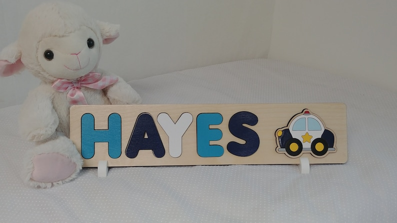 Wooden Name Puzzle First Birthday Gift Police Officer Gifts image 0