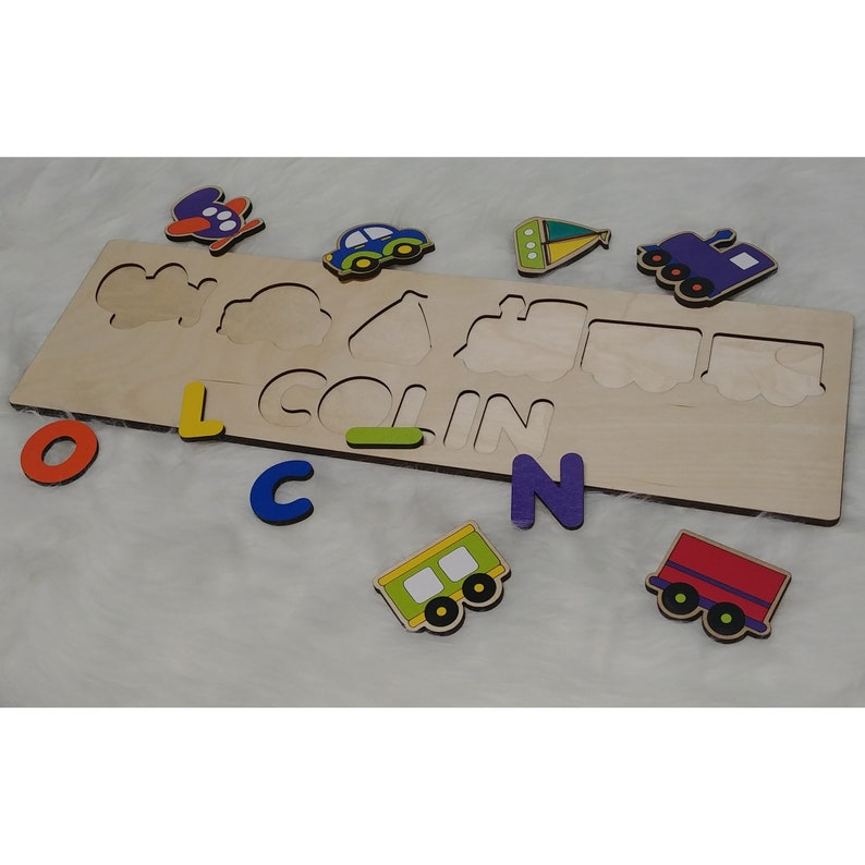 Plane Trains & Automobiles Personalized Wooden Name Puzzle image 0