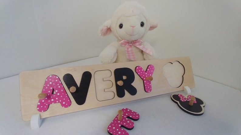 Baby Name Puzzle With Pegs Minnie Mouse Ears Baby Shower image 0