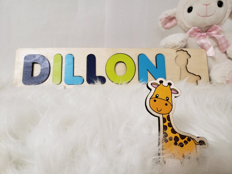 Baptism Gift For Boy Wooden Name Puzzle Cute Baby Giraffe image 0