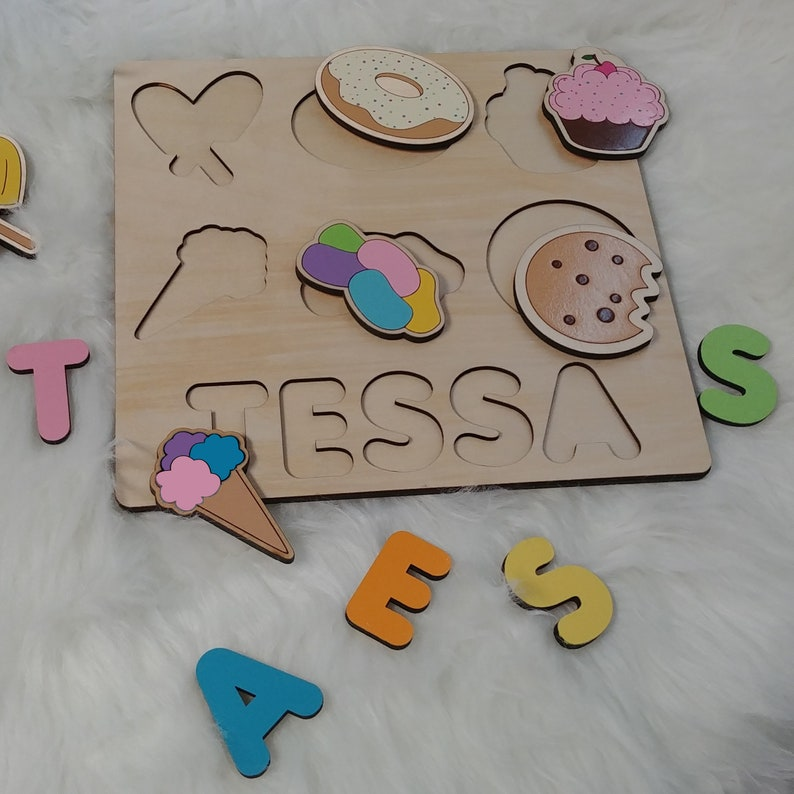 Ice Cream Party Name Puzzle. Personalized Gift for New Born image 0