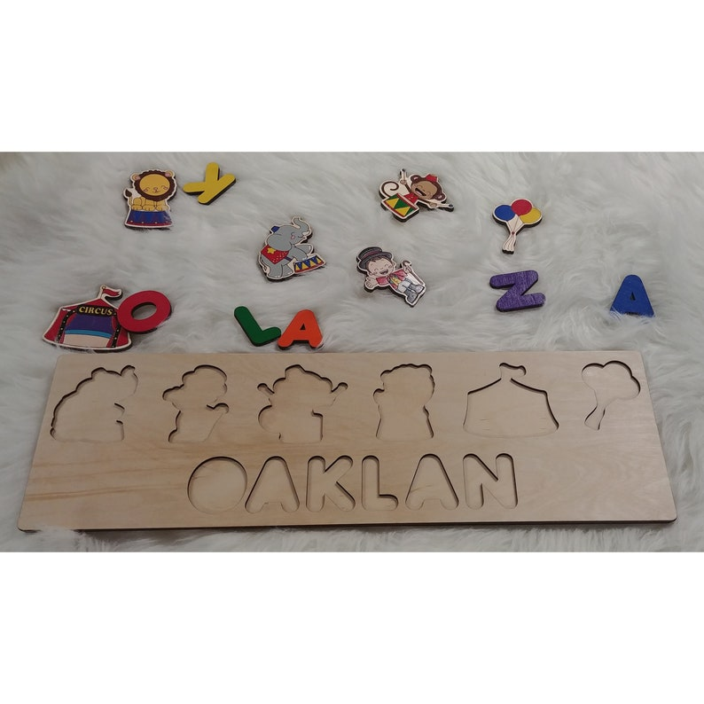 Circus Baby Shower Gift Wooden Name Puzzle Sign image 0