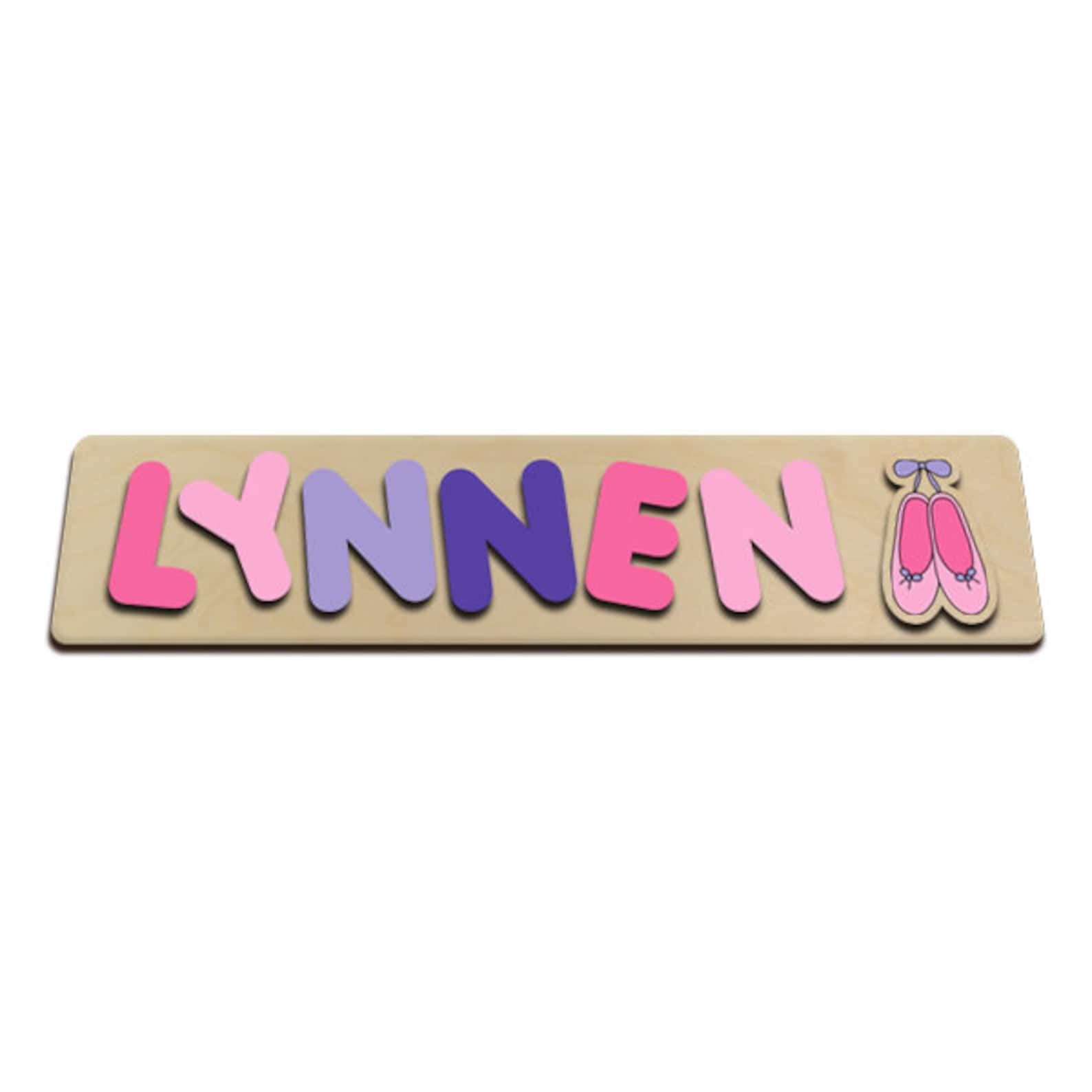 personalized wooden kids name puzzle for girl pink & purple ballet slipper ballerina shoes nice gift for birthday christmas east