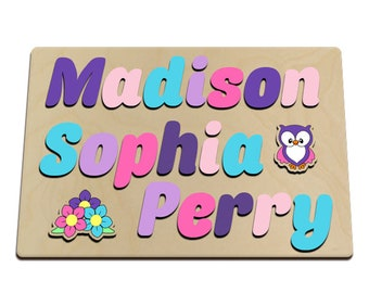 Personalized Wooden Three 3 Name Puzzle With Owl & Flowers Painted In Pretty Pastels Upper And Lower Case Letters 587270276