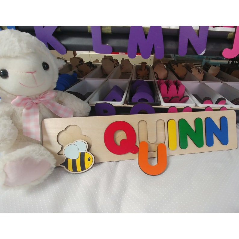 Baby Name Puzzle Sensory Board Bubble Bee Baby Shower Gift Primary
