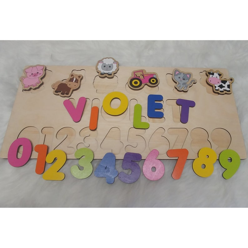 Puzzle With Name & Number Farm Theme Baby Shower Gift image 0