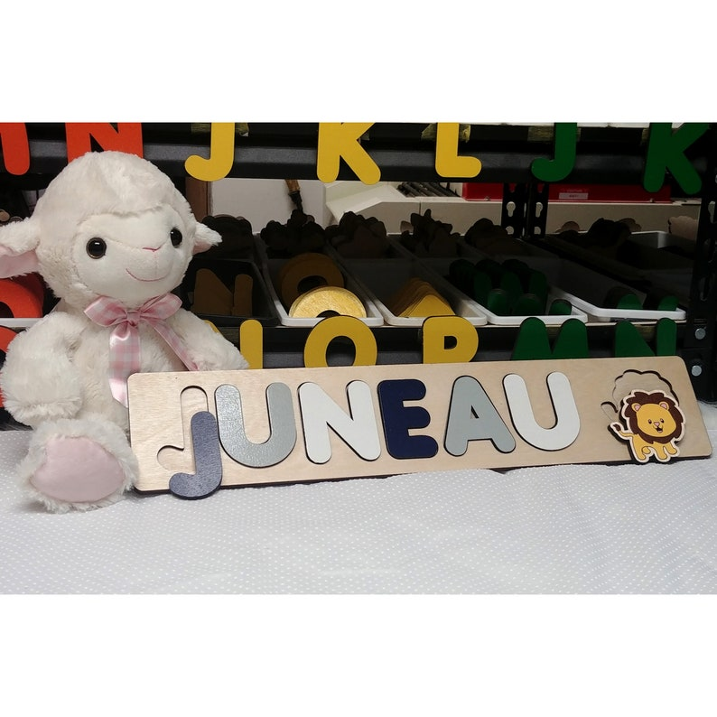 Personalized Puzzle With Lion Navy and Gray image 0