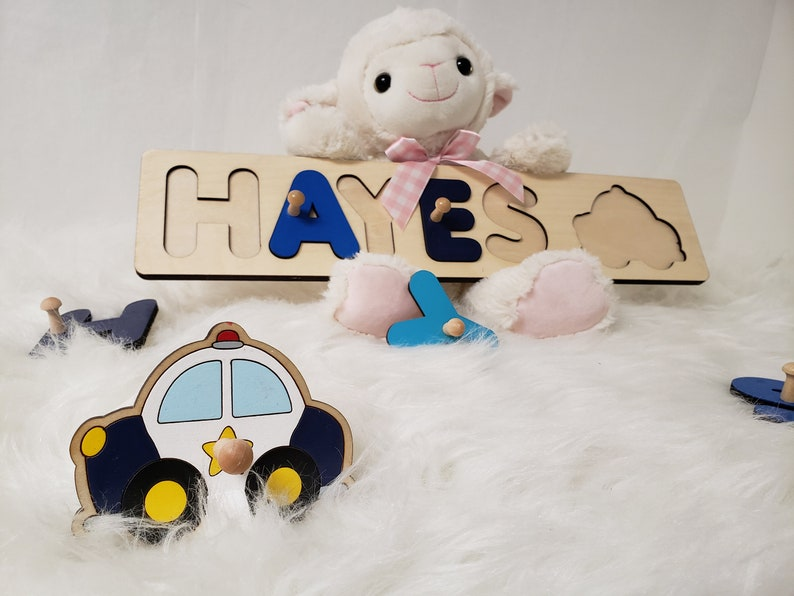 Police Car Wooden Name Puzzle With Pegs Baby Shower Gift Idea image 0
