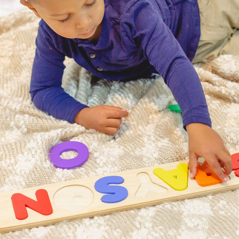 Wood Name Puzzle Personalized Christening Gift For Kids image 0