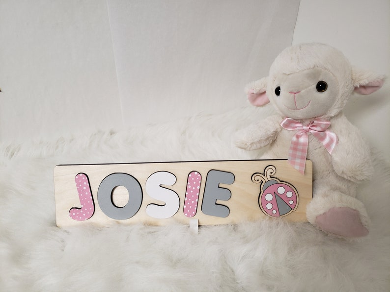 Wood Name Puzzle Montessori Puzzle For Girl  Pink & Gray image 0
