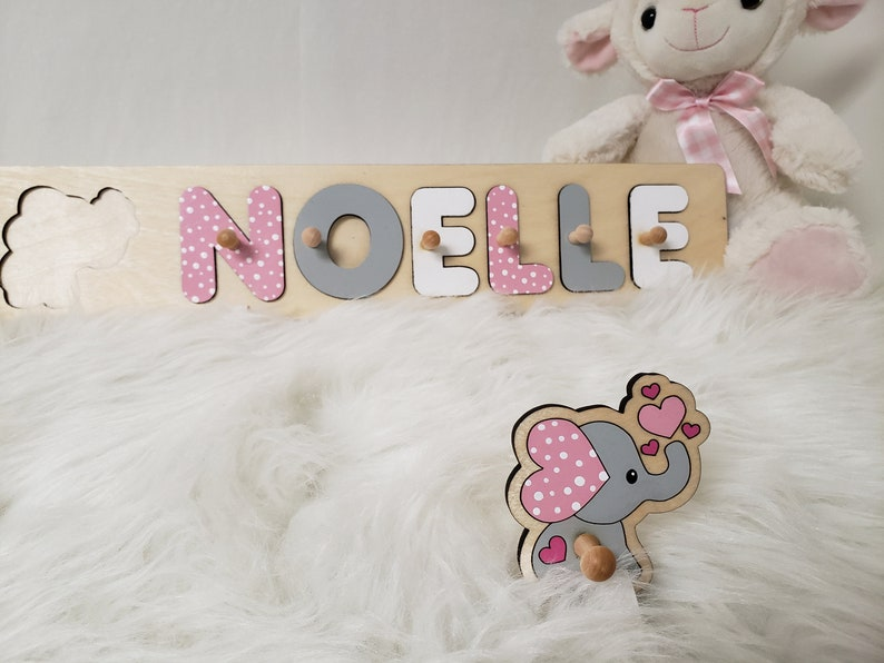 Wooden Name Puzzle Unique Baby Girl Gift Pink And Gray image 0