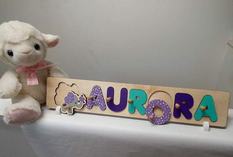 Baby Name Puzzle Puzzle With Pegs Elephant Baby Shower image 0