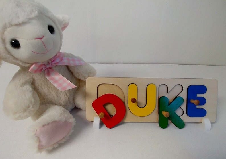 Wooden Name Puzzle Custom Made Babies First Christmas Gift image 0